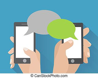 Hand holding smartphone with blank speech bubbles - Hands...
