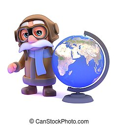 3d Pilot with a globe of the Earth - 3d render of a pilot...