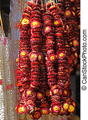 Flower garlands for sale Flower garlands being sold on the...