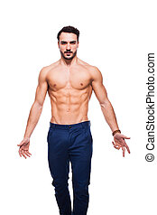 handsome adult man with healthy athletic body, half naked on...