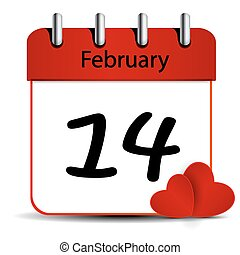 14 february calendar on white background.