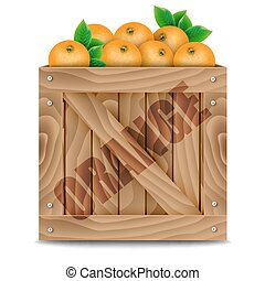 Oranges crate on a white background