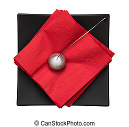 Napkin holder with paperweight - view from above - Napkin...