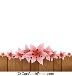 Frame of lilies on a wooden background