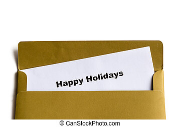 happy holidays words in the envelope