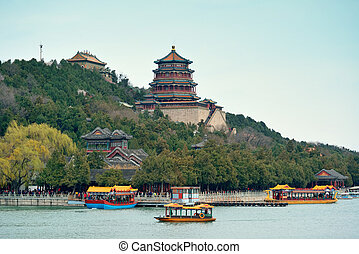 Summer Palace with historical architecture and boat in...