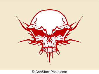 human skull - Vector illustration of human skull with tribal...