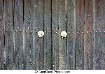 Old Wooden Gate with forging nails Background and Texture...