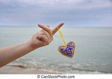 femininas, mão, com, lar, Drawning, ligado, Coração,