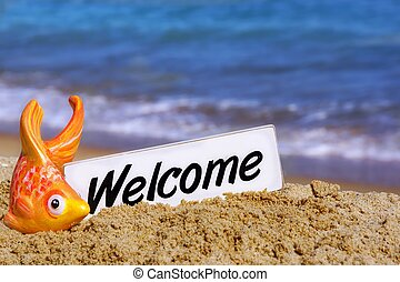 Welcome Signboard on the Sea Beach - White Welcome Signboard...