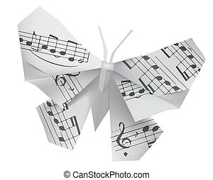 Origami butterfly with musical note - Origami paper...