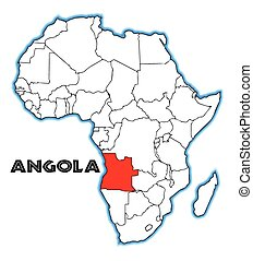 Angola outline inset into a map of Africa over a white...