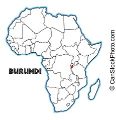Burundi outline inset into a map of Africa over a white...