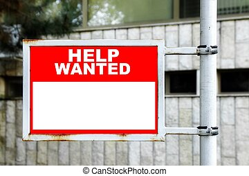 Help Wanted Sign - Red White Help Wanted Signage