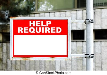 Help Required Sign - Red White Help Required Sign