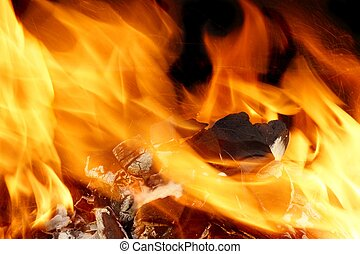 Abstract Bright Fire Flames Background Charcoal Burning in...
