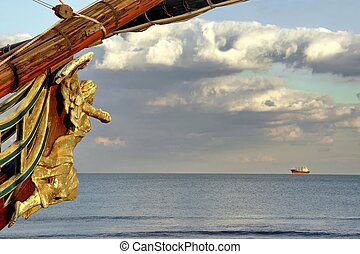 Wooden Carved Figurehead found at the Prow of Old Ship -...