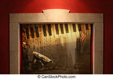 stage - Stage or window with musical broadway background