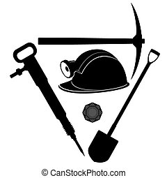 Miner tool - Miners helmet and tools for coal mining...