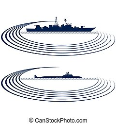 Naval fleet - The contour of the warship and submarine. The...