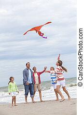 Family Parents Girl Children Flying Kite on Beach - Happy...