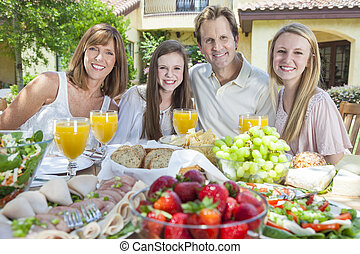 Parents Children Family Healthy Eating Outside - An...