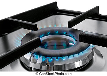 Natural gas flame - Blue gas flames stove burner horizontal...