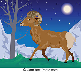 Wild Ram in the Mountains - Cartoon illustration with wild...