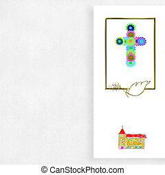 First Communion cross and dove children background with...