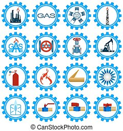 Set icons gas production industry