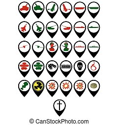 Set of military icons - Set of icons on the military theme...