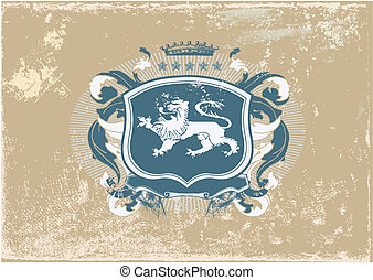 heraldic shield - An heraldic shield or badge with lion on...