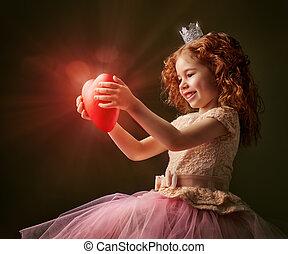 red heart - little girl holding a heart