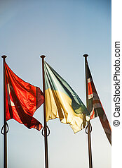 Ukraine, Turkey and United Kingdom Flags - Strasbourg -...