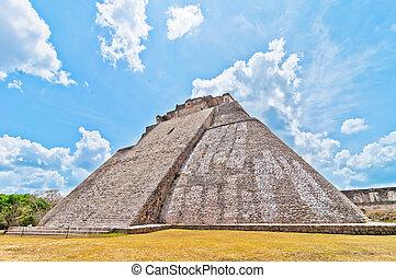 Ancient mayan pyramid in Uxmal, Yucatan, Mexico