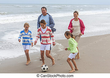 Family Parents Children Playing Beach Soccer Football -...