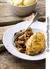 stewed chicken breast with mushrooms in the crock-pot -...