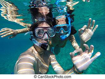 coppia, Snorkeling, in, maldive,