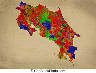 Costa Rica - Watercolor Map of Costa Rica