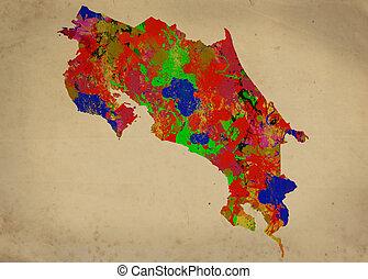 Costa Rica - Watercolor Map of  Costa Rica
