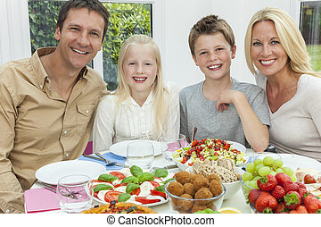 Parents Children Family Healthy Eating Salad Table - An...