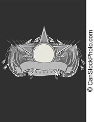 heraldic shield - Insignia - star shaped with banner . Blank...