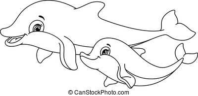 Dolphins coloring page - Dolphin mother and baby isolated on...