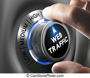 Website Traffic - Web traffic button pointing high position...
