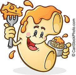 Macaroni and Cheese Cartoon Charact - A happy macaroni...