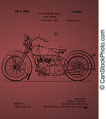 Harley Davidson Motorcycle Patent 1925, Vintage patent...