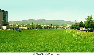 Zagreb downtown - Zagreb green area in downtown, capital of...