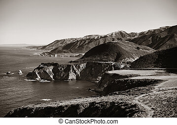 Big Sur - Seascape in Big Sur in California in black and...