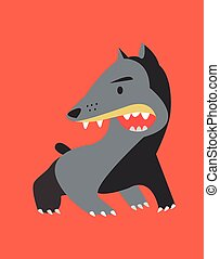 Angry dog - Hand drawn vector illustration or drawing of an...