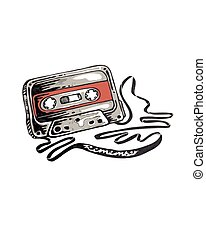 Cassette - Hand drawn vector illustration or drawing of a...